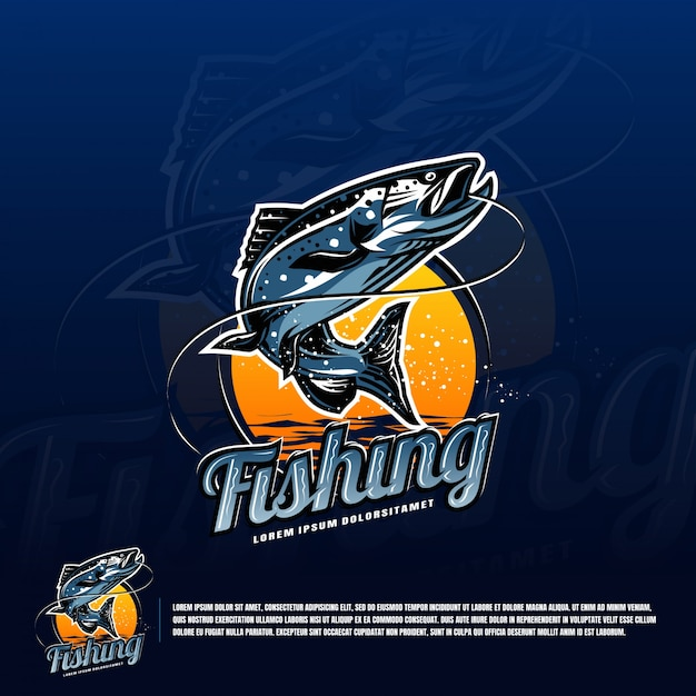 Fishing blue logo vector Premium Vector