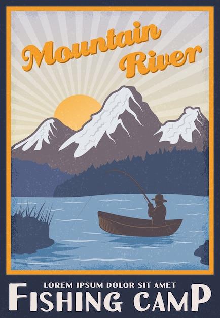 マウンテンリバーの近くの釣りキャンプポスター Premiumベクター