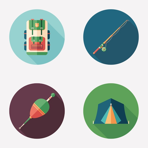 Fishing and camping flat round icon set. Premium Vector