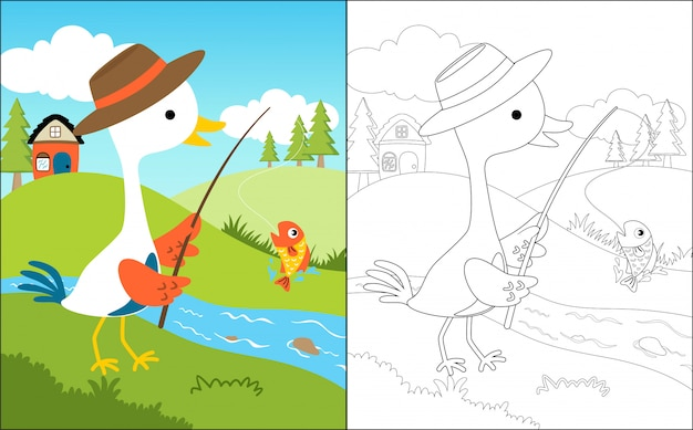 Fishing cartoon with cute crane Premium Vector