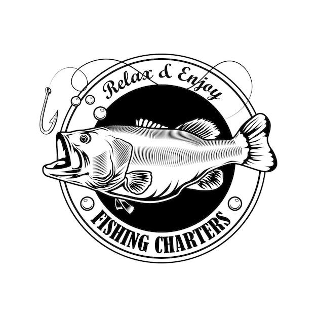 釣りチャータースタンプベクトルイラスト。魚、フック、リボンのテキスト。キャンプのエンブレムとラベルテンプレートの釣りのコンセプト 無料ベクター
