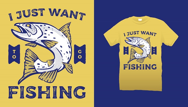 Fishing club t-shirt design Premium Vector
