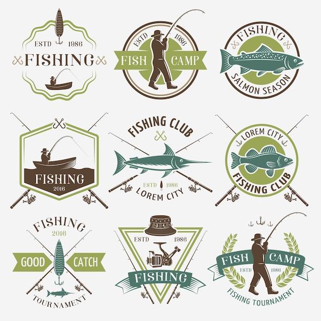 Рыболовные клубы красочные эмблемы Бесплатные векторы