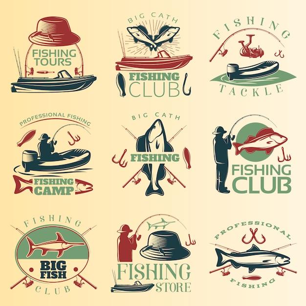Набор цветной эмблемы для рыбалки с описанием снастей и рыболовных туров Бесплатные векторы