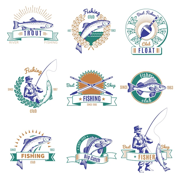 Fishing colorful emblem set Premium Vector