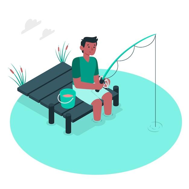 Fishing concept illustration Free Vector