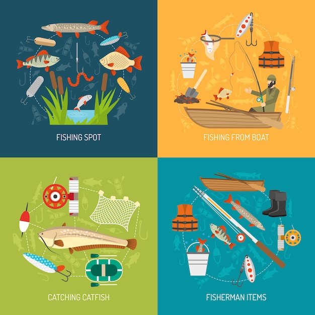 Fishing concept vector image Free Vector