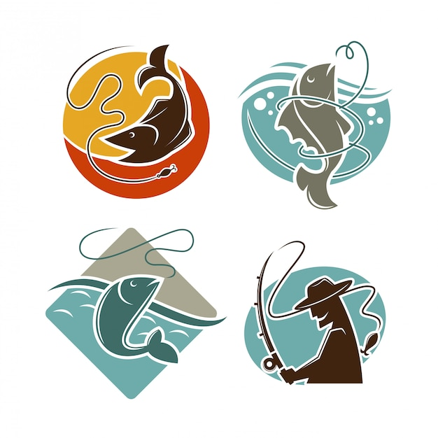 Fishing concept vector poster on white. Premium Vector