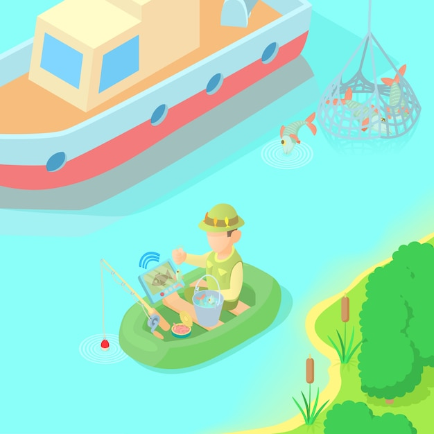 Fishing concept Premium Vector
