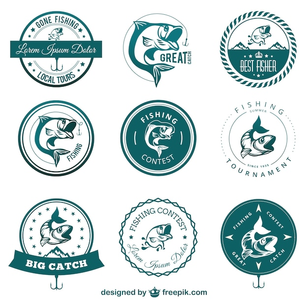 Fishing contest badges Free Vector