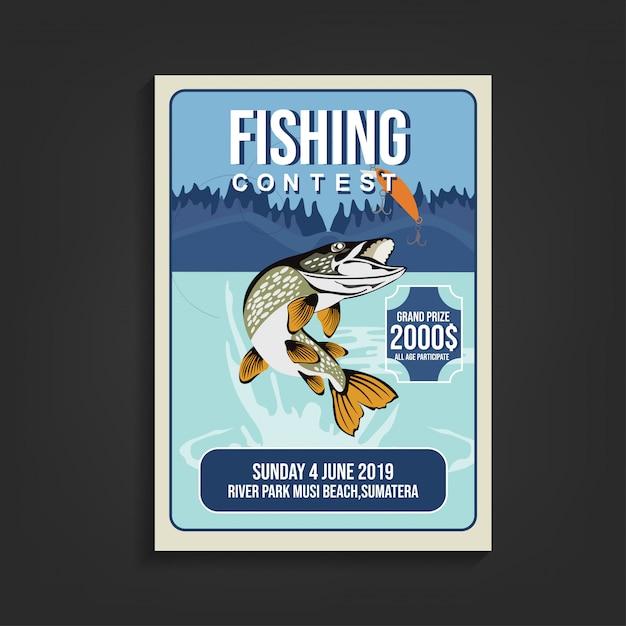 Fishing contest flyer template Premium Vector