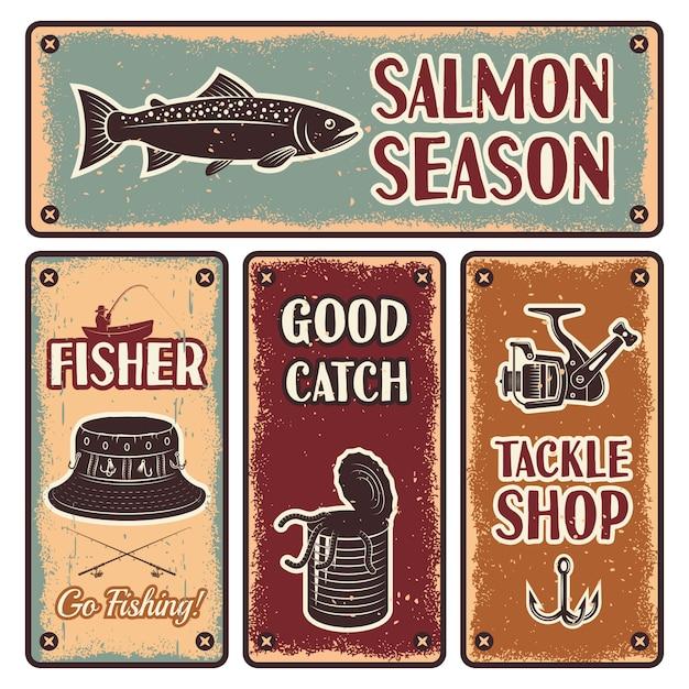 Набор рыболовных эмблем Бесплатные векторы