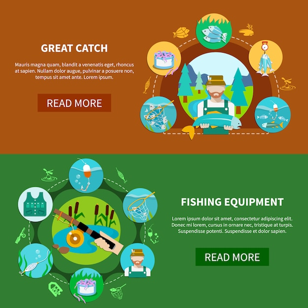 Fishing equipment horizontal banners Free Vector