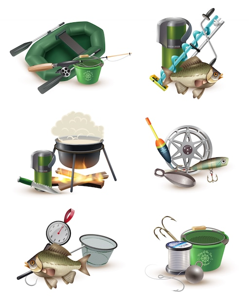 Fishing gear accessories 6 icons set Free Vector