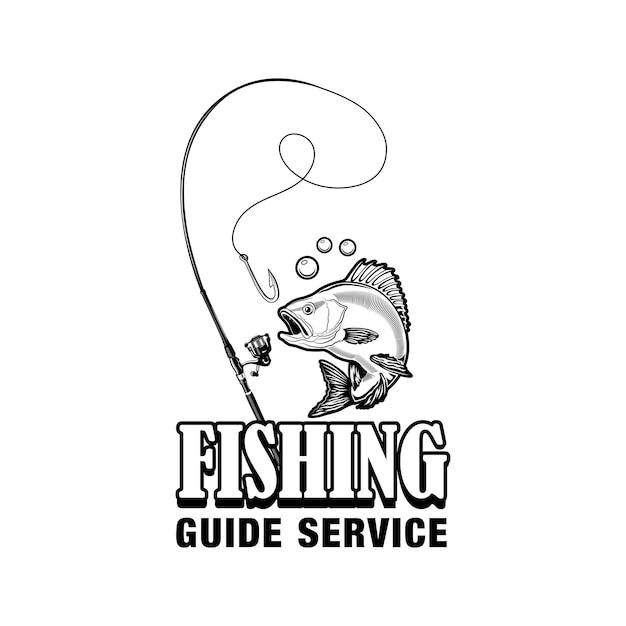 Illustrazione di vettore dell'etichetta di servizio della guida di pesca. pesce, attrezzatura, amo e testo. concetto di pesca o sport per modelli di emblemi e distintivi di club o comunità Vettore gratuito