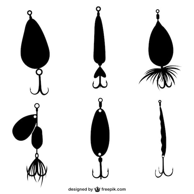 Fishing hooks silhouettes