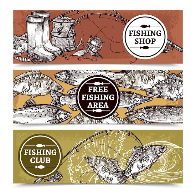 Fishing horizontal background Free Vector