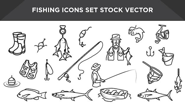 Fishing Icon Set Stock Vector Vector Premium Download