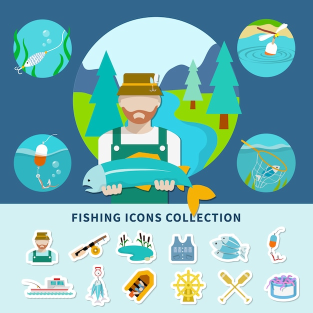 Fishing icons collection background Free Vector