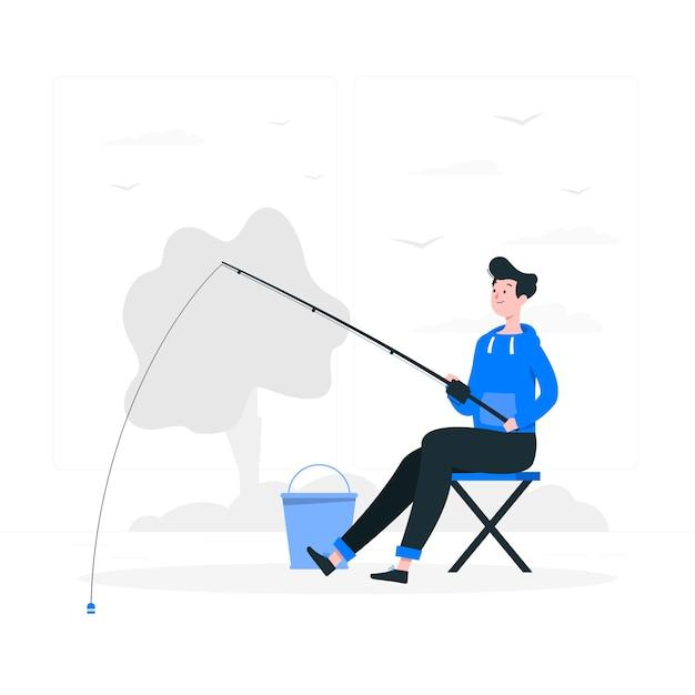 Fishing illustration concept Free Vector
