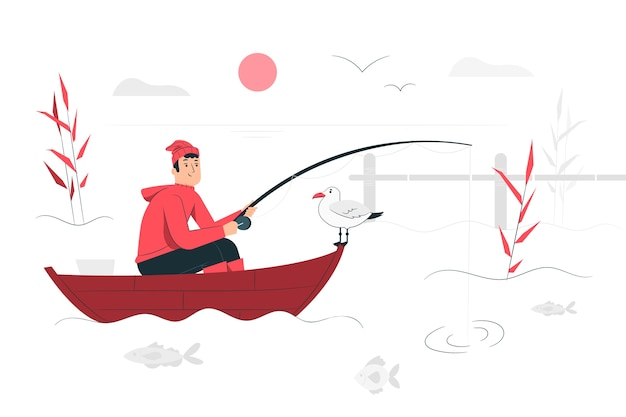 Fishing illustration concept Free Vector