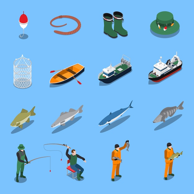 Fishing isometric icons set with boats and equipment symbols isolated illustration Free Vector