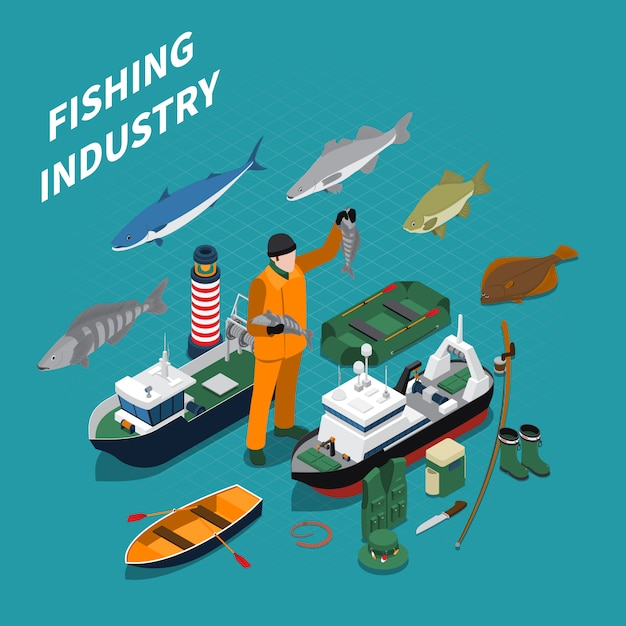 Fishing isometric illustration with fishing industry symbols on blue Free Vector