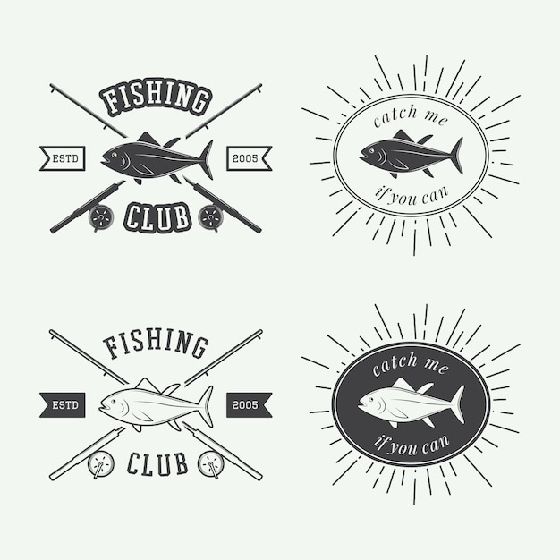 Fishing labels, logo, badge Premium Vector