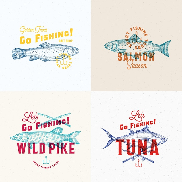 Fishing labels set. Free Vector