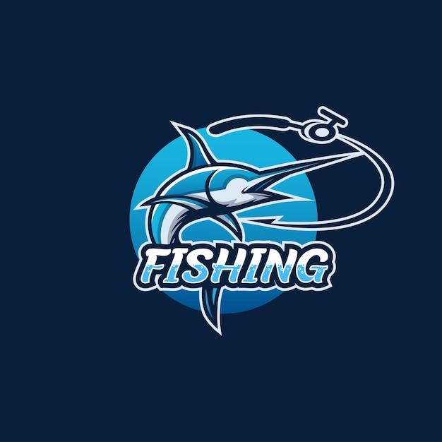 釣りのロゴ、釣り針 Premiumベクター