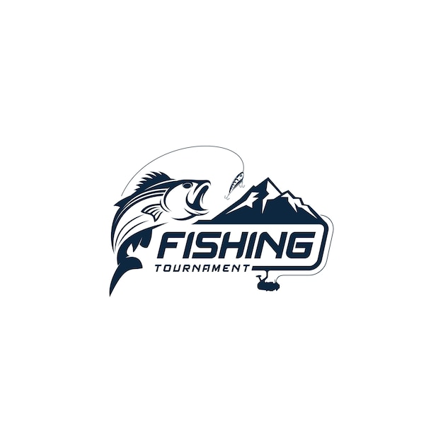 Fishing logo template Premium Vector