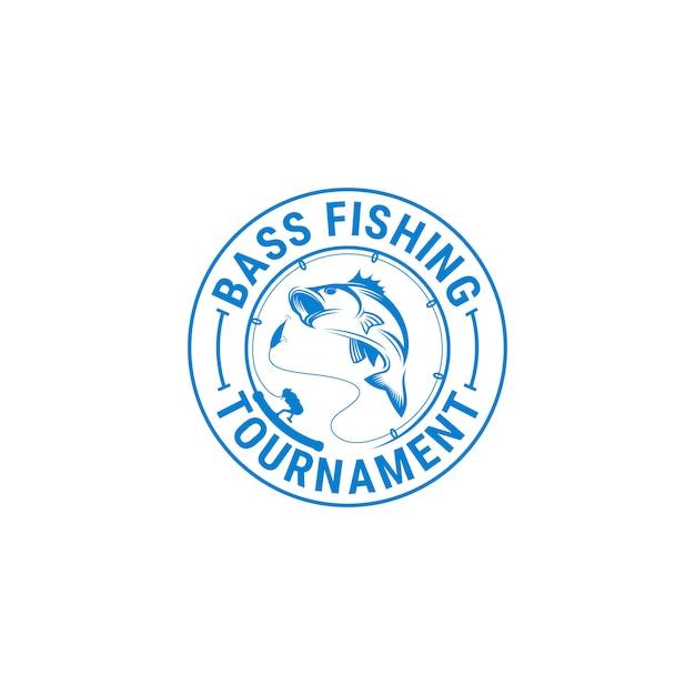Fishing logo template Premium Vector