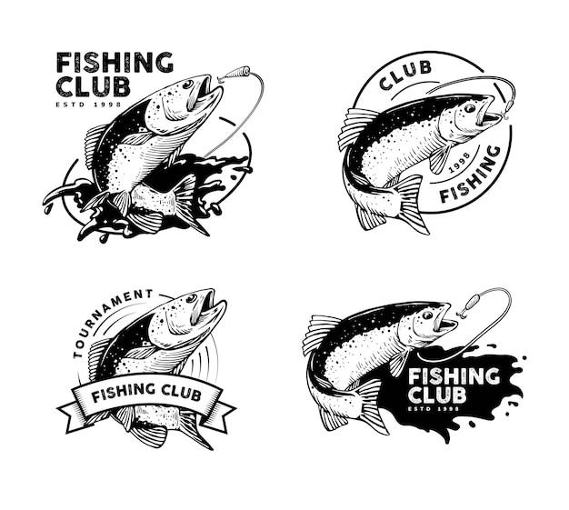 Логотип рыбалки с вариантами Premium векторы