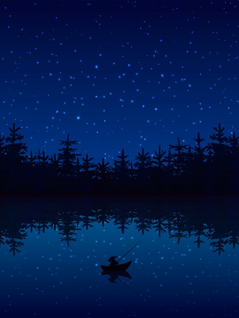 Fishing at night near a forest with boat and rod flat vector illustration Free Vector