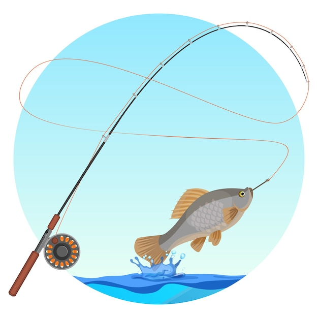 Fishing rod with caught fish on hook. water splashes and drops below cold-blooded animal with fins and gills. hobby fishery sport badge Premium Vector