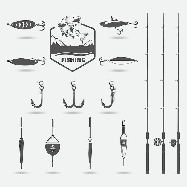Fishing rods, fishing hooks, lure for fishing, floats, set for hobby Premium Vector