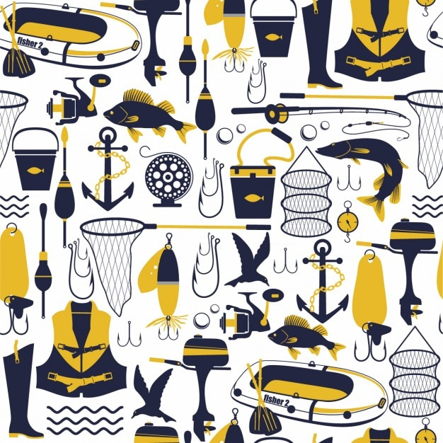 Fishing seamless pattern Free Vector