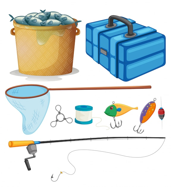 Fishing set with fishing pole and tools\ illustration