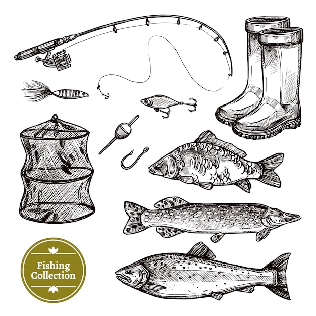 Fishing sketch set Free Vector