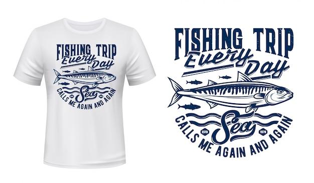 Fishing sport t-shirt print with mackerels shoal Premium Vector