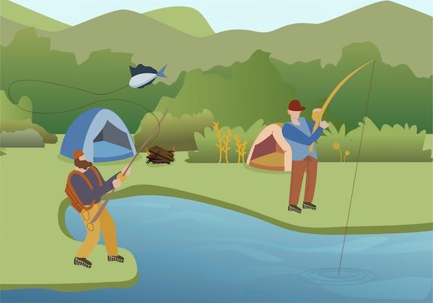 Fishing summer hobby flat illustration Premium Vector