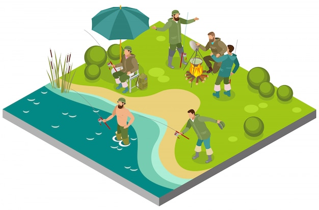 Fishing tourism isometric composition with fishers near bonfire and during catching on bank river Free Vector