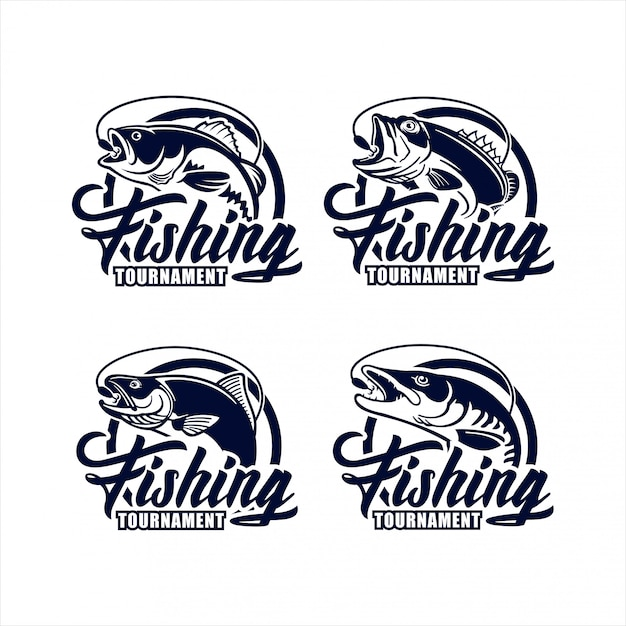 Fishing tournament   design logo collection Premium Vector