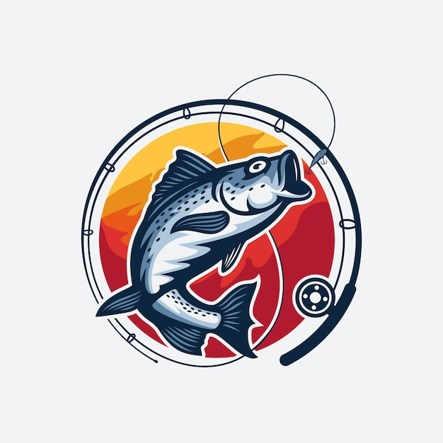 Fishing tournament logo template isolated Premium Vector