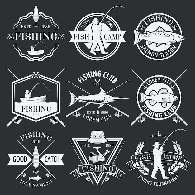 Fishing white emblems on black background Free Vector