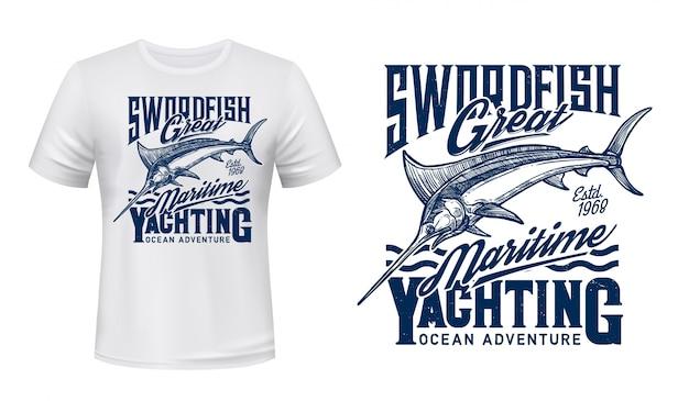 Fishing, yachting t-shirt print with blue marlin Premium Vector
