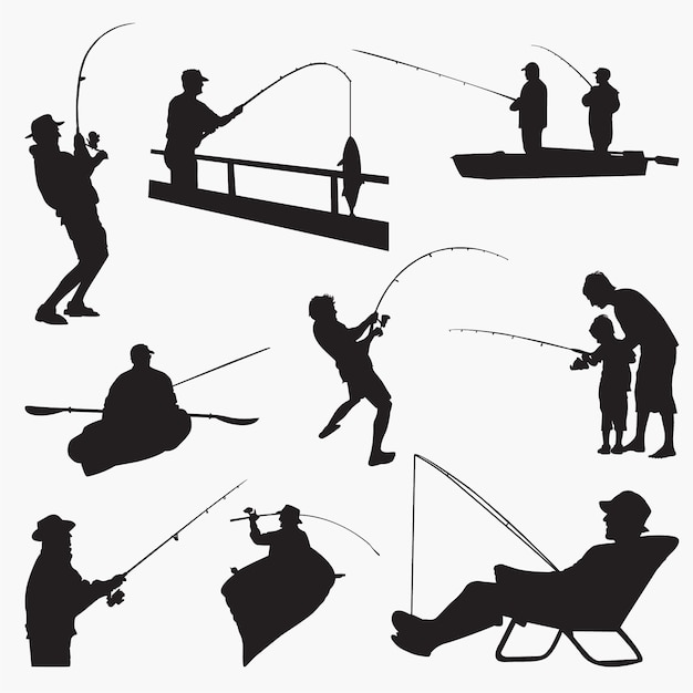 Fishingman silhouettes Premium Vector