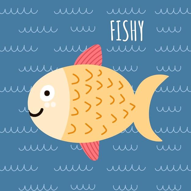 かわいい魚とテキストfishyで印刷してください。 Premiumベクター
