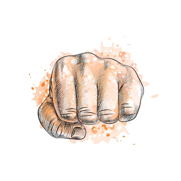 Fist from a splash of watercolor, hand drawn sketch.  illustration of paints Premium Vector