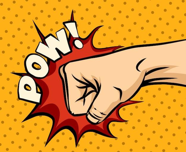 ポップアートスタイルの拳打撃、拳パンチ。 無料ベクター